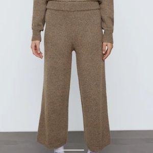 ZARA Knit Olive Green Sweater Knit Wide Leg Crop Lounge Pants S